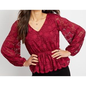 Maurices long sleeve peplum lace blouse size XL
